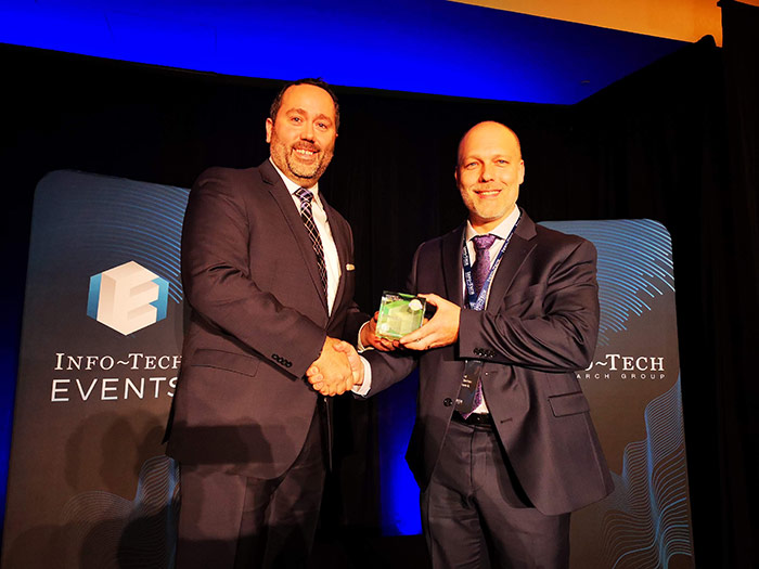 Troy Marchand – accepting the Gold Medal Award recognizing Dundas BI as the best Business Intelligence Software – as rated by Real Users