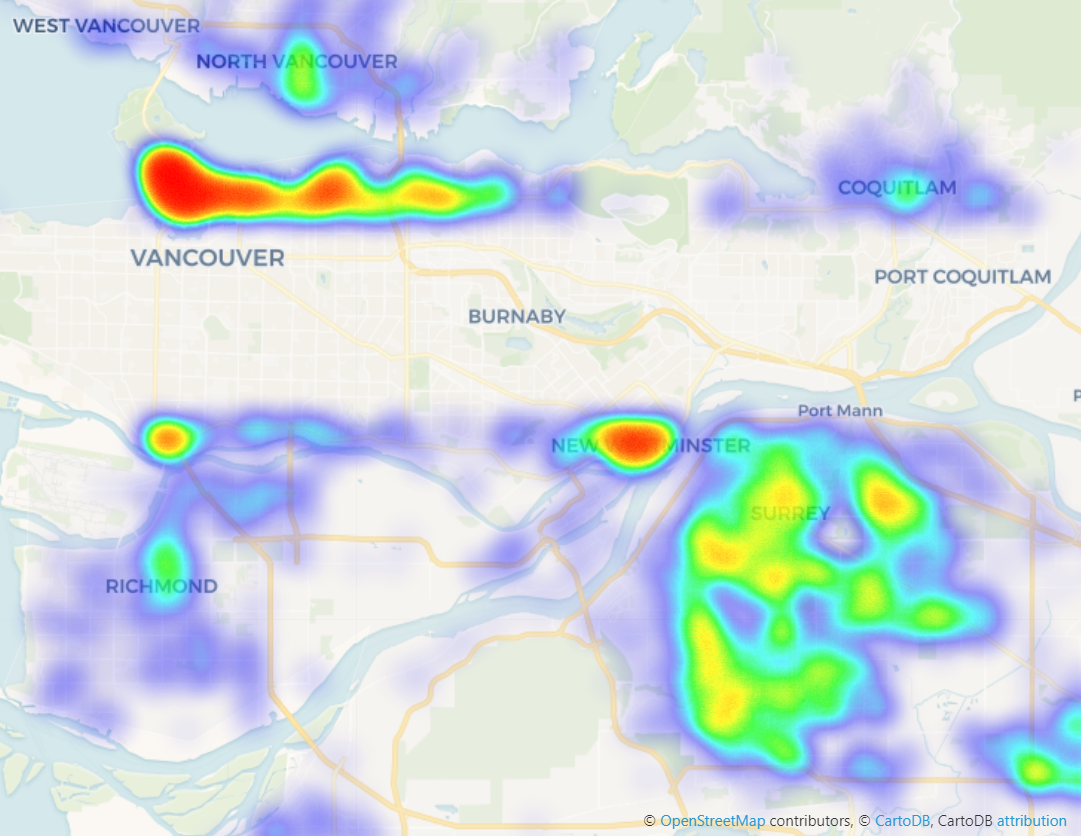 A heat map visualizing the neighborhoods around Vancouver with the most stolen vehicle events.