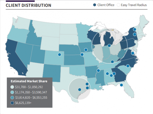 map data visualization bi client distribution market share