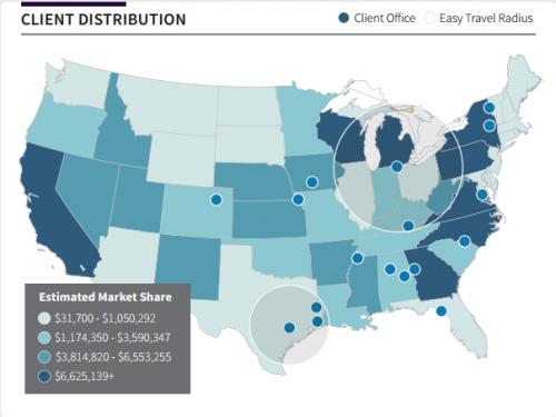 map data visualization bi client distribution market share
