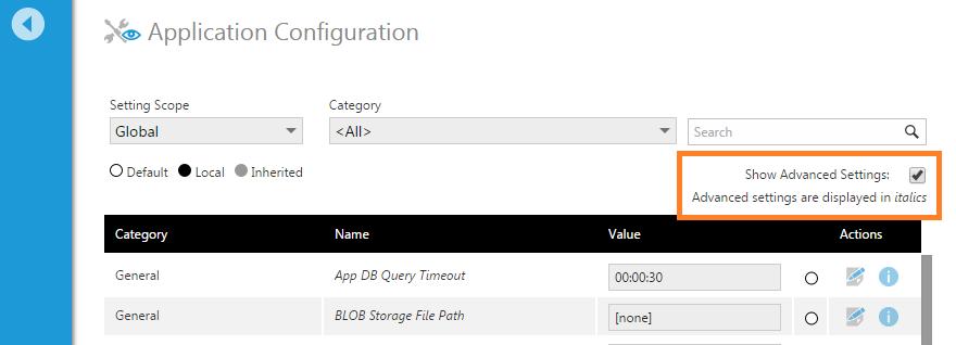 Configuration settings   Administration, Configuration