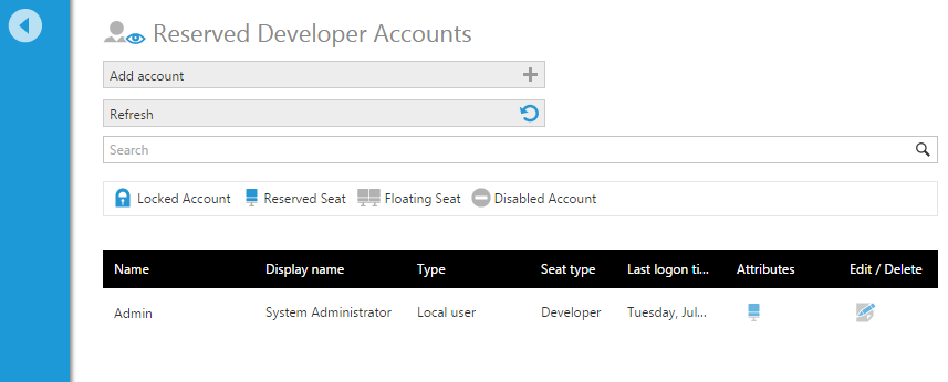 View the list of reserved developer accounts that are logged on