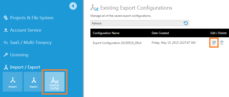 View existing export configurations