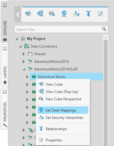Set up date mapping on a native OLAP cube | Connect to Data
