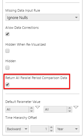 Select the option to return all comparison data