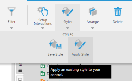 Click Apply Style from toolbar