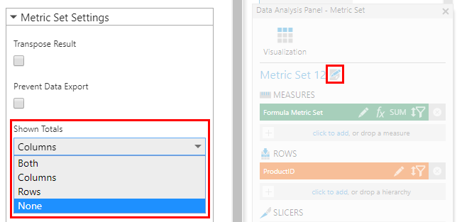 Editing the metric set totals settings