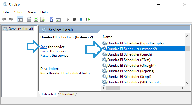 Stopping the scheduler service.