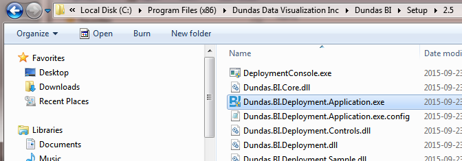 Dundas BI Deployment application