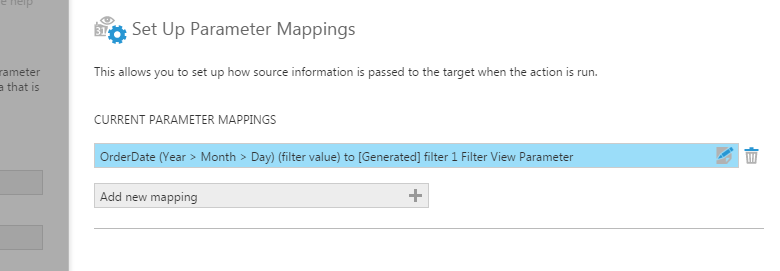 Default filter view parameter mapping