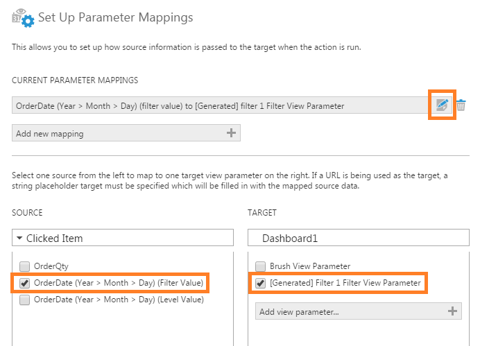 Edit the filter view parameter mapping