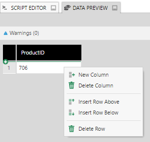 Insert rows and create columns using the context menu