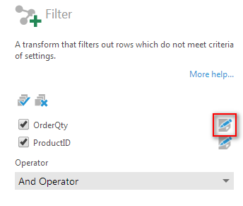 Filter transform configuration - Step 3
