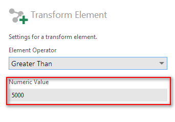 Filter transform configuration - Step 5