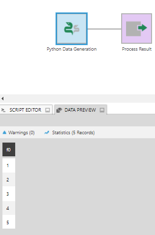 Data Preview for Python Data Generation output