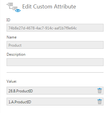 Add 1.A.ProductID as another value to the custom attribute
