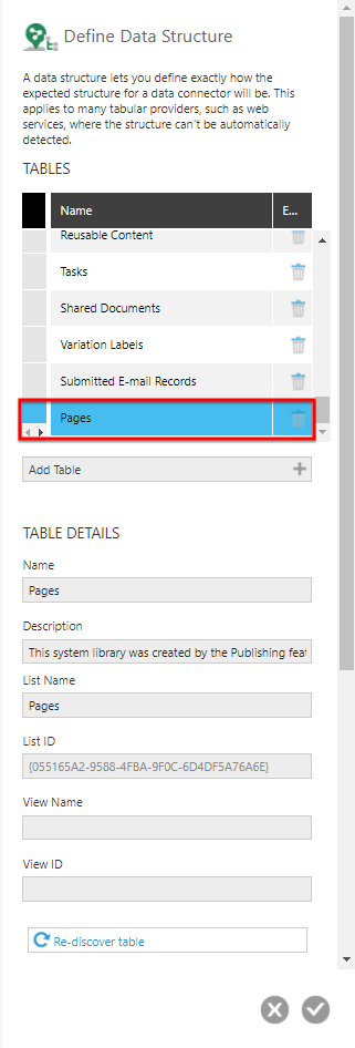 Edit the data connector and click Define Structure
