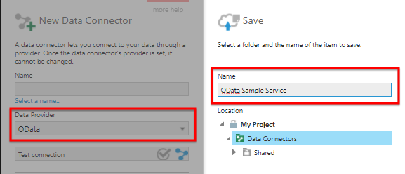 Create a new data connector for OData