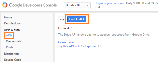 Click Enable API
