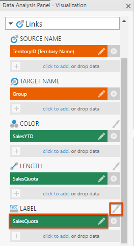 Add a measure under Label for links