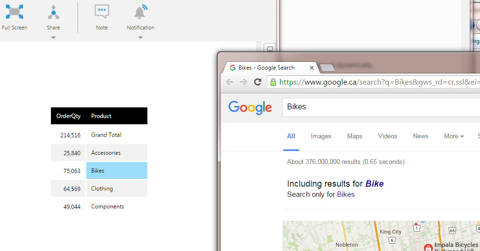 Click Bikes cell to open a Google search for 'Bikes'