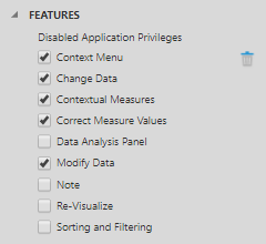 Select the privileges to disable on the data visualization