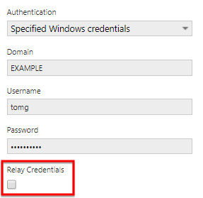 Uncheck Relay Credentials option