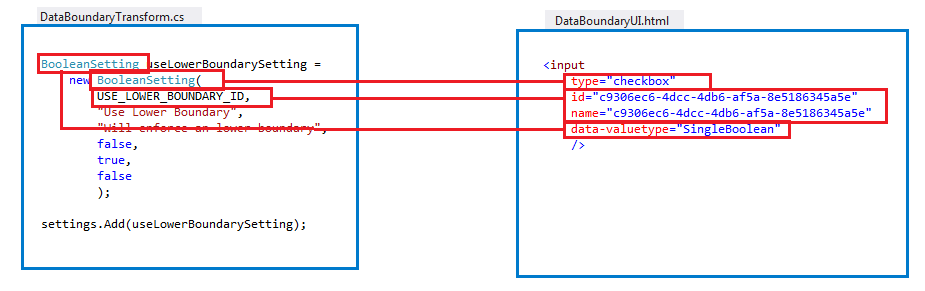 Data boundary boolean setting