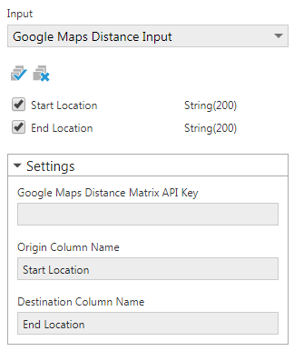 Configure the Google Maps Distance transform