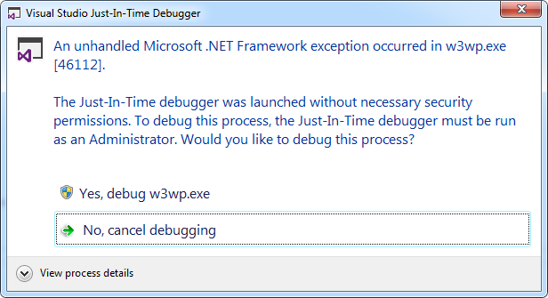 Debugger pop-up