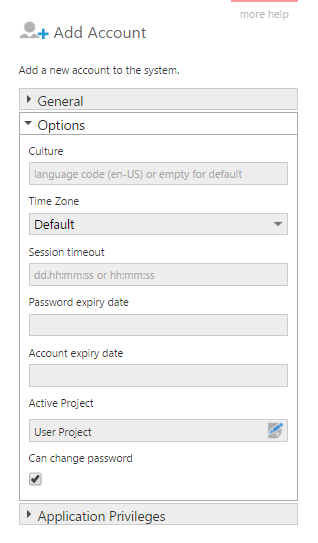 Account options for a Local user