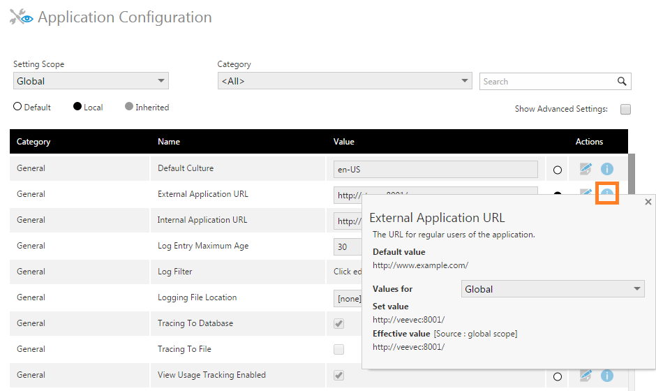 View the details for a configuration setting