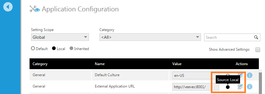 Source for a configuration setting