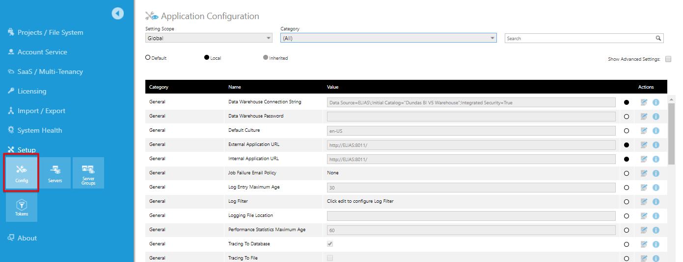 Configuration settings | Administration, Configuration