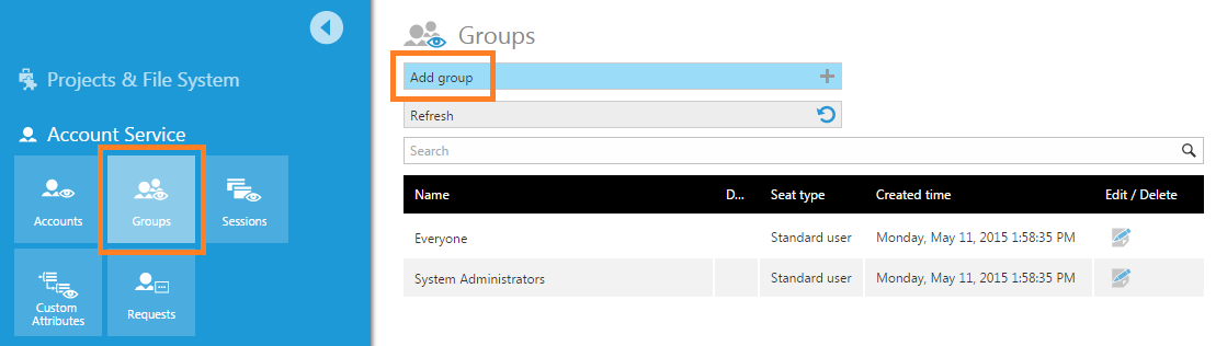 Click Groups and then Add group