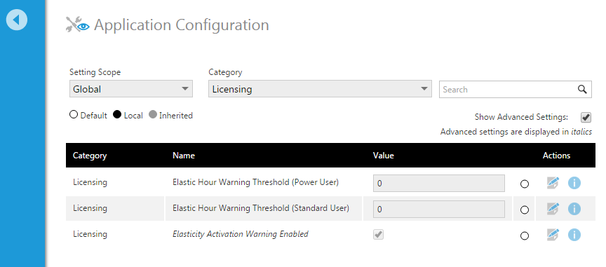 Configuration settings for license elasticity