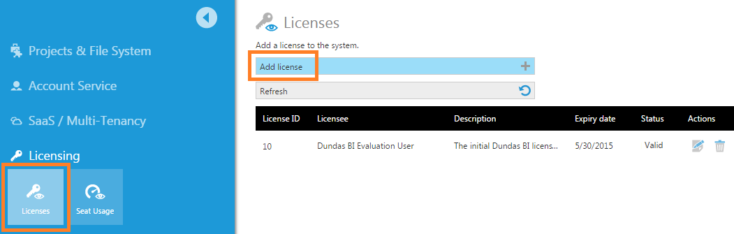 Click Licenses and then Add license