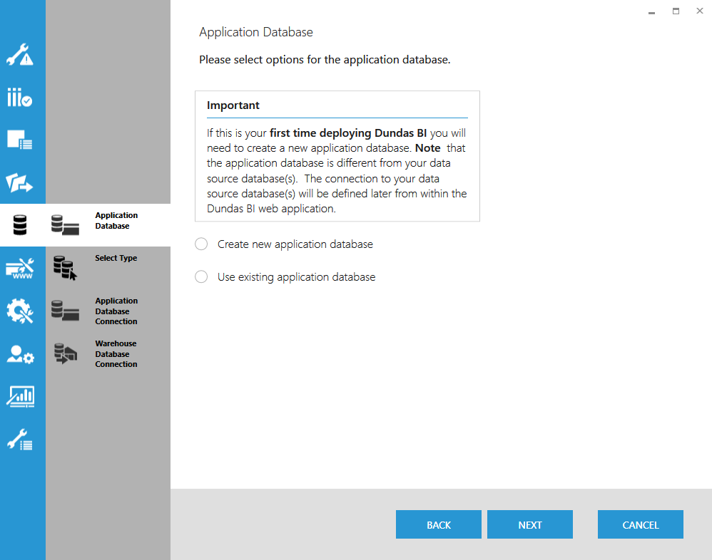 Select application database