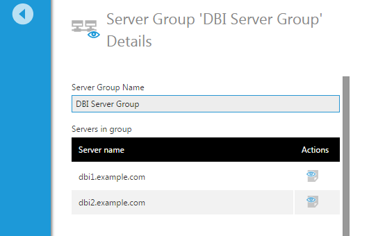 Server Group Details screen shows list of servers in the group