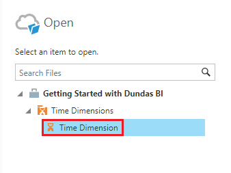 Select the time dimension to override