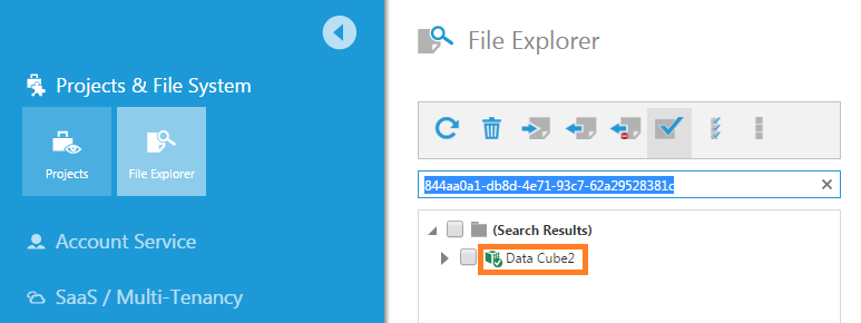 Search for a data cube given its file ID