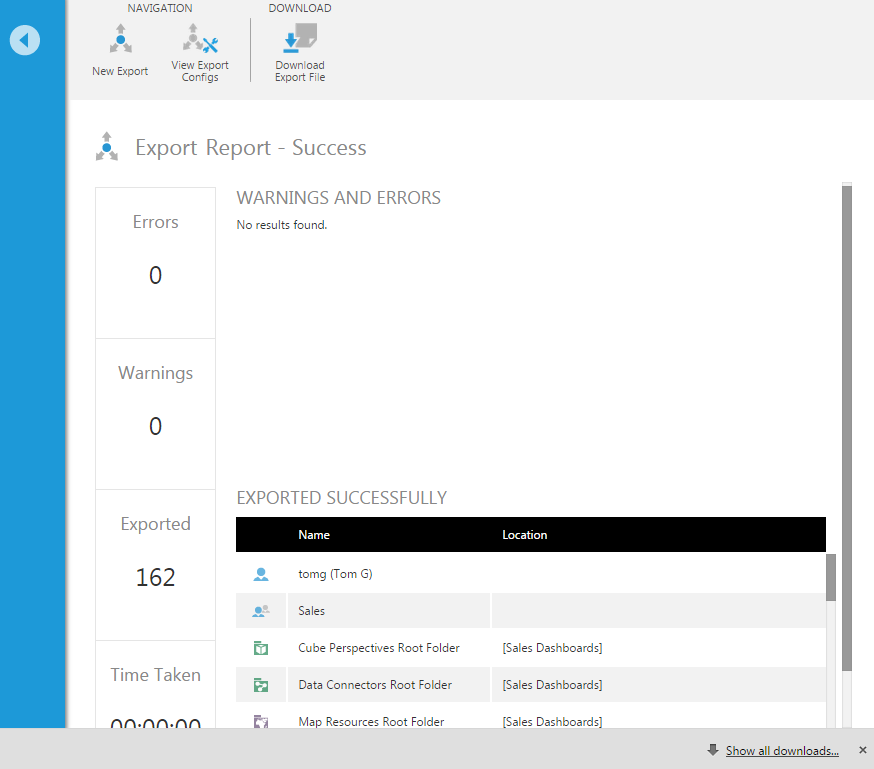 A report is displayed after the export is completed