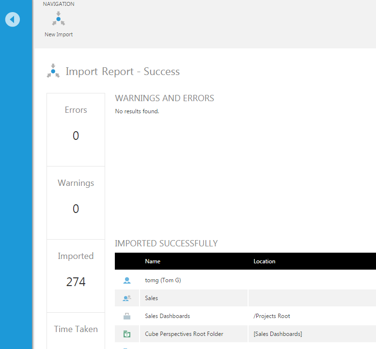 A report is displayed after the import is completed