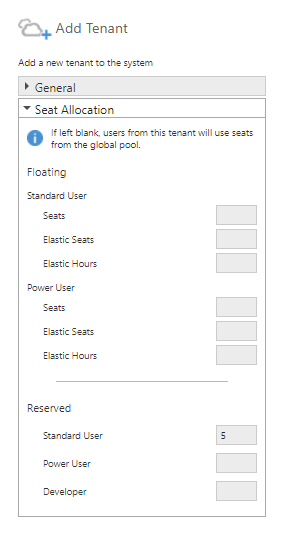 Enter the seat allocation for the tenant