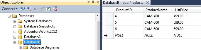 SQL Server database for the second tenant