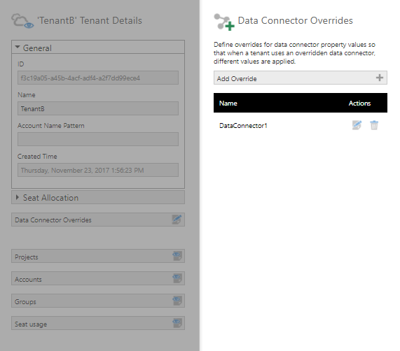 Override for DataConnector1 is added to TenantB