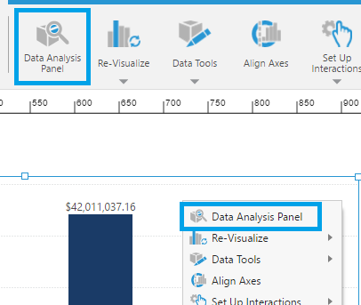 Open the Data Analysis Panel from the toolbar or context menu