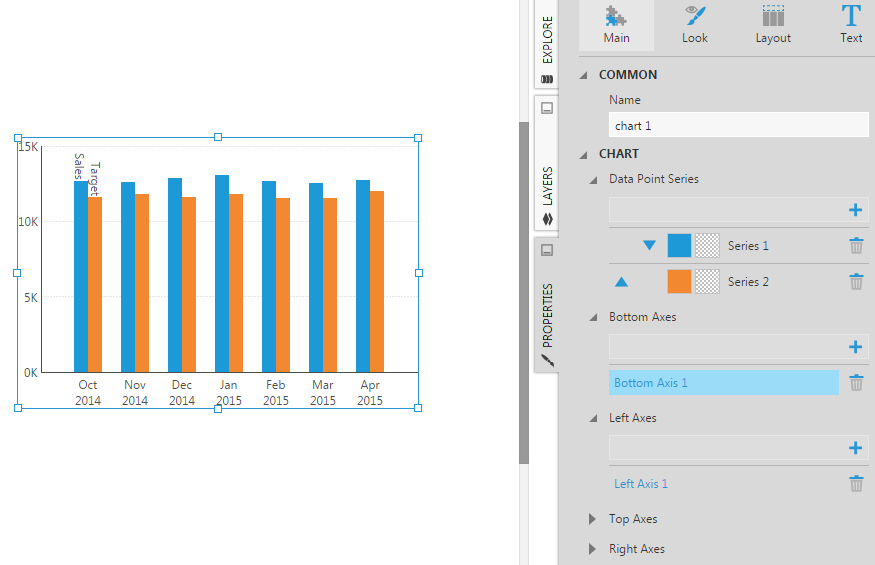 Click on a chart axis (Bottom Axis 1) to edit its properties