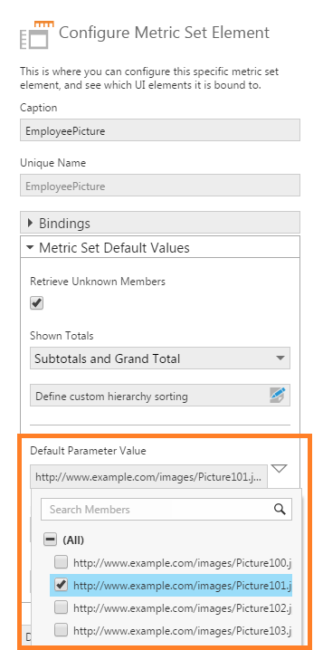 Change the default hierarchy value to see a different picture