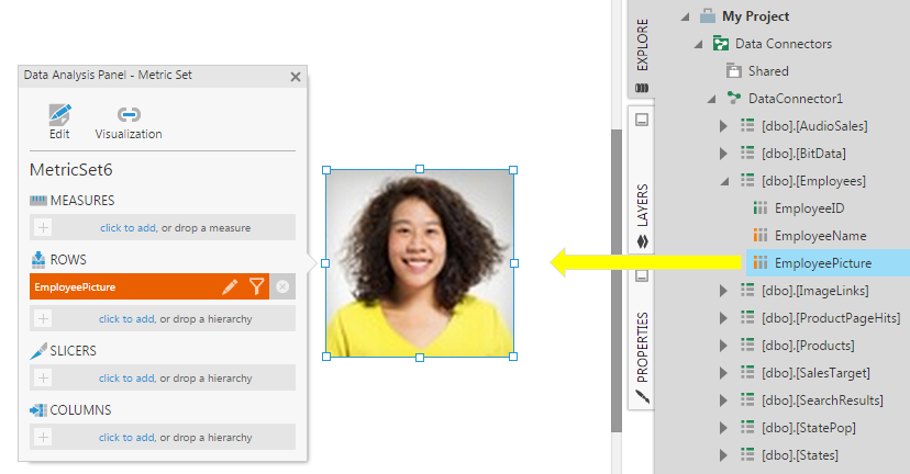 Drag the EmployeePicture column to the data image control